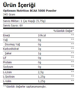 optimum bcaa 5000 powder 345 gr ürün içeriği
