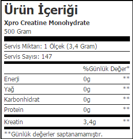 Xpro Creatine Monohydrate_icerik