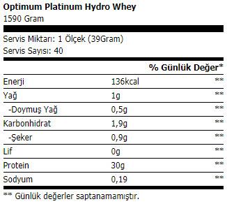optimum platinum hydrowhey 1590 gr protein tozu