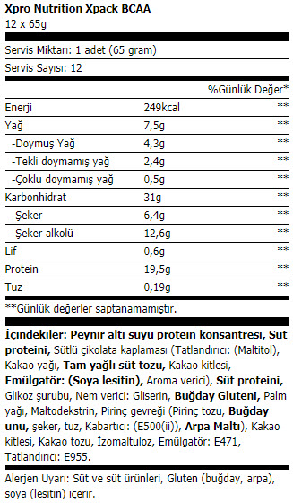 xpro xpack protein bar 65 gr
