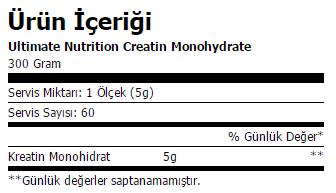 ULTİMATE CREATİNE MONOHYDRATE 300 GR ürün içeriği