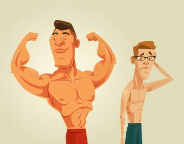 kilolu ve kaslı, zayıf