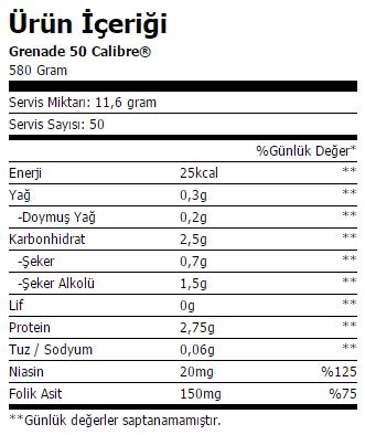 grenade 50 calibre pro workout ürün içeriği